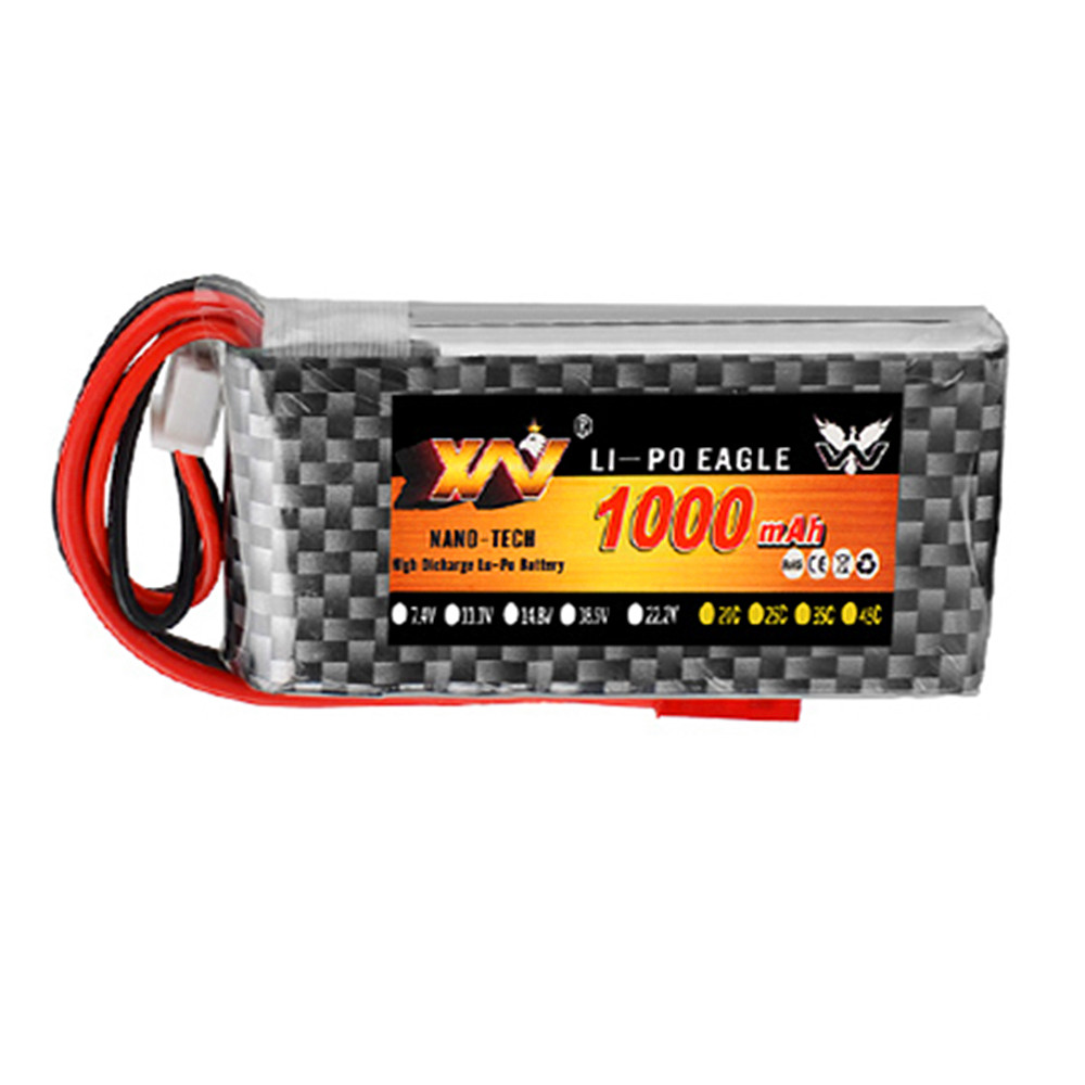 XW 7.4V 11.1V 14.8V 22.2V 1000mAh 70C 2S <font><b>3s</b></font> 4s 6s Rechargeable Lipo Battery JST Plug For RC Helicopter Quadcopter image