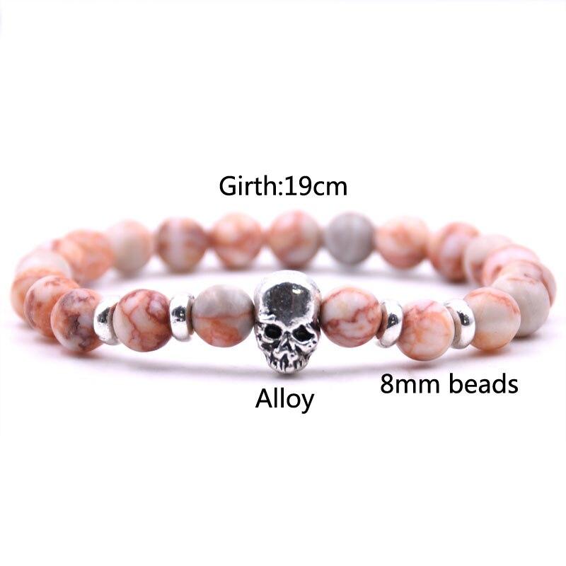 HOMME PIERRE NATURELLE Puissance énergétique Bead skull punk rock goth bracelet Wrap pour gars