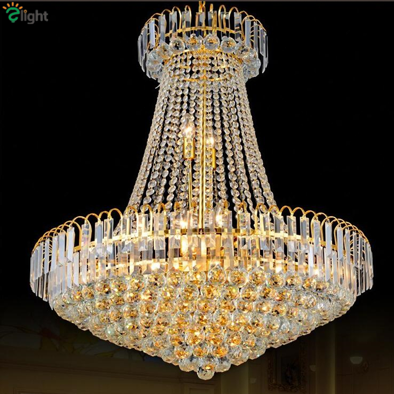 Modern Electroplate Gold Metal K9 Crystal Led Pendant Light Luxury Lustre De Cristal Chain Hanging Light Free 5W Led Bulb modern dimmable curved luxury gold chrome led pendant light eelctroplate aluminium soft acrylic lustre cristal led hanging lamp