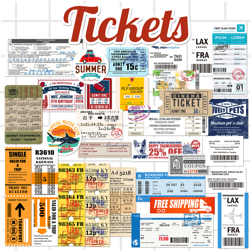 купить 29Pcs/Lot Travel Tickets Stickers Kids Toys Decal For Snowboard Laptop Luggage Suitcase Fridge Car Styling Vinyl Home Decor по цене 253.36 рублей