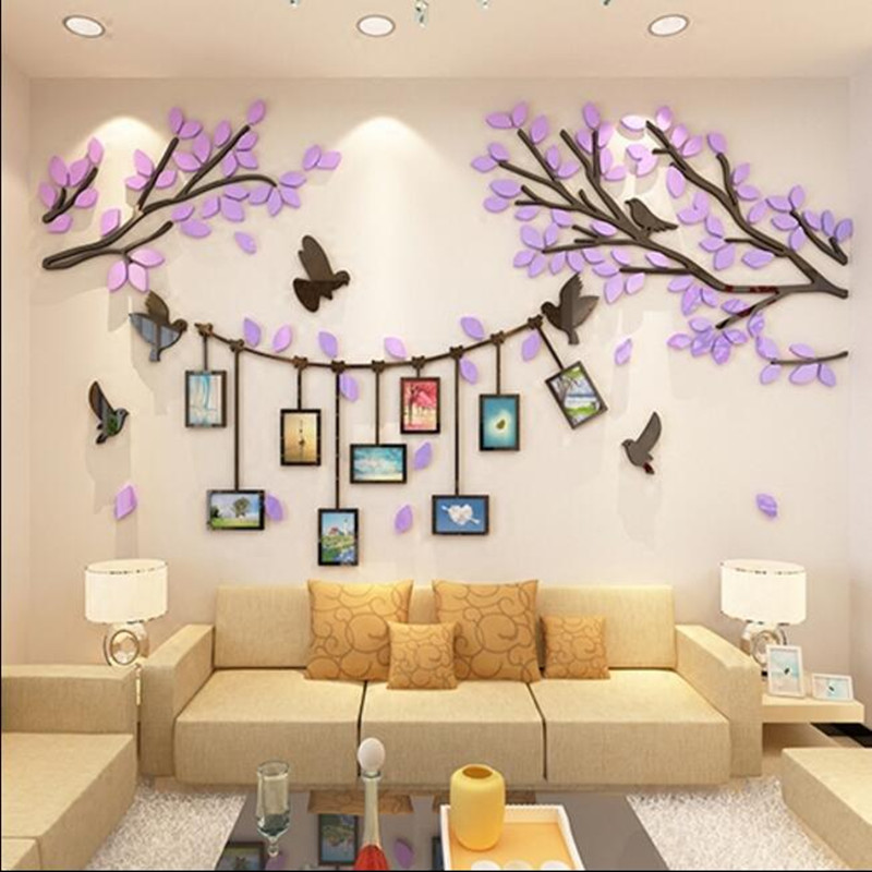 3D stereo acrylic wall sticker photo living room TV background wall decoration bedroom warm wall stickers - 3