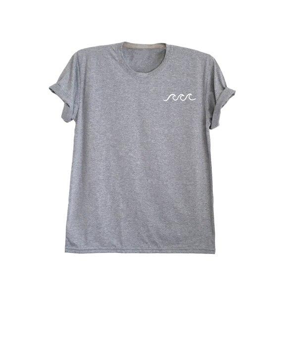 Camisa Wave ocean waves imprimir tumblr inspirado bolsillo camiseta unisex camiseta camisetas frescas-C864