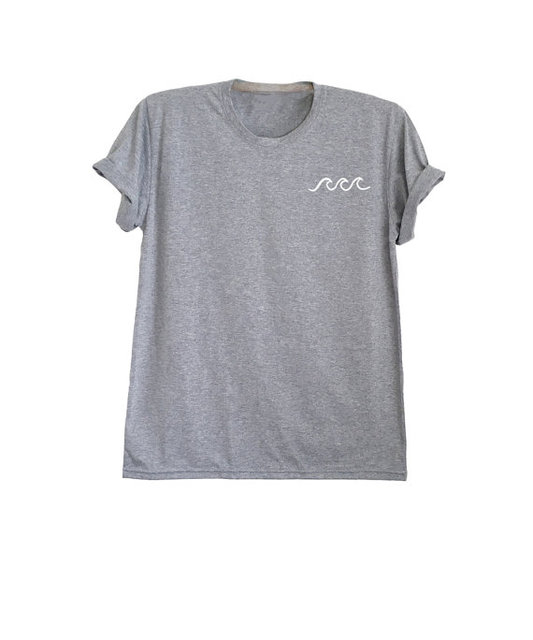 T Shirt Overhemd.Golf Overhemd Oceaan Golven Print Tumblr Geinspireerd Pocket Tee