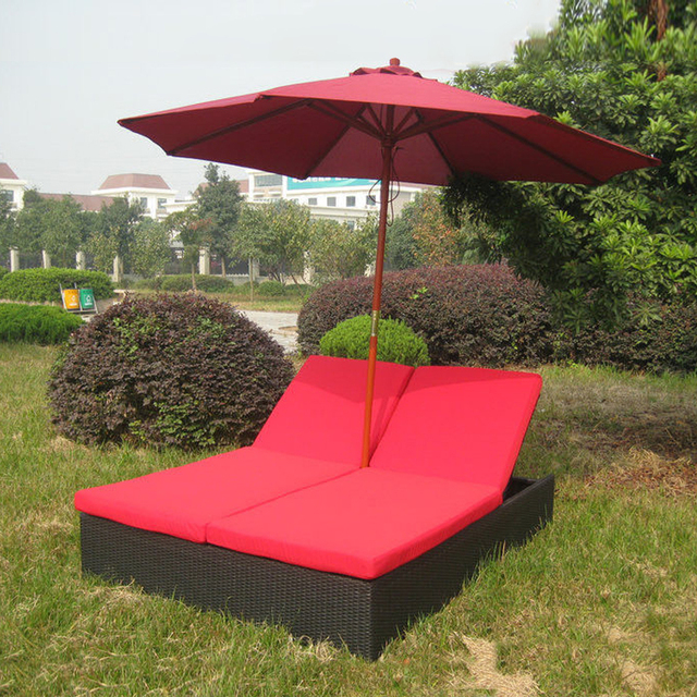 Comfortable Outdoor Rattan Daybed , Wicker Double Chaise Lounge ...