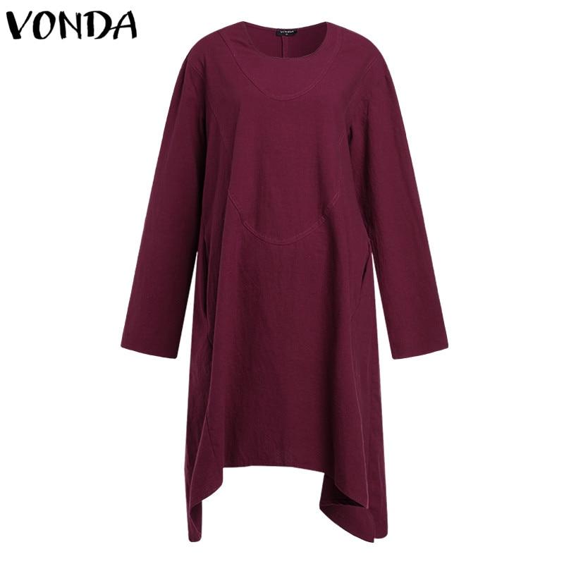 VONDA Maternity Clothes 2018 Autumn Women Cotton Dress Pregnancy Casual Loose Vintage Long Sleeve Asymmetric Vestidos Plus Size