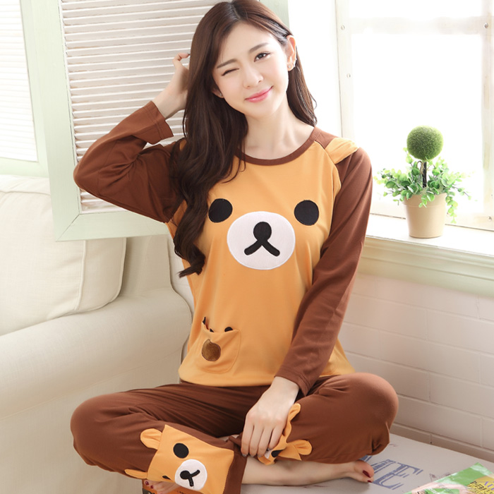Adult Girls Rilakkuma sleepwear Tracksuit Spring Fall Long sleeved Women Cotton Cartoon bear pajama sets pyjamas M L XL