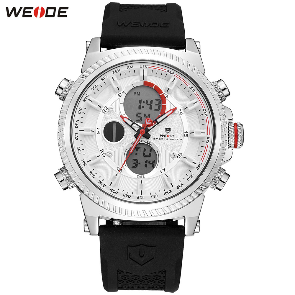 Original Fashion WEIDE Watch Mens Sport Watch Men Digital Quartz LED Week Day Date Watch Silicone Band Wristwatches Clock Gift weide mens black sports stopwatch quartz digital watch date day alarm silicone band buckle man wristwatches relojes para hombres page 4