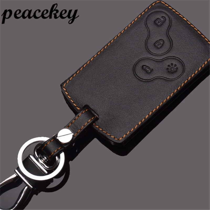 Peacekey Leather Keychains For Renault Koleos Laguna 2 3 Megane 1 2 3 Sandero Scenic Captur Fluence Leather Key Holder Rings