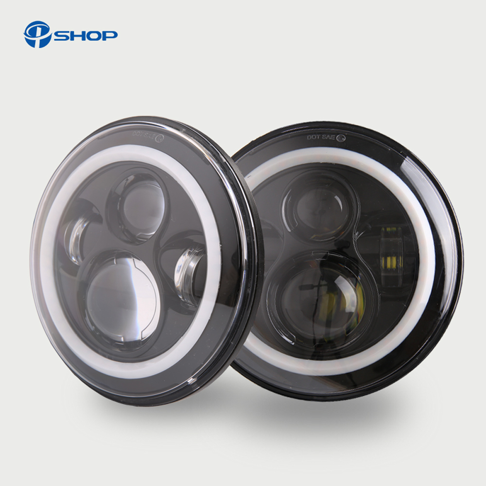 7 Inch 45W H4 LED Headlights Daymaker Lamp With Angle Eyes 7 Round Headlamp For Lada 4x4 Urban Niva Land Rover 90/110 Defender