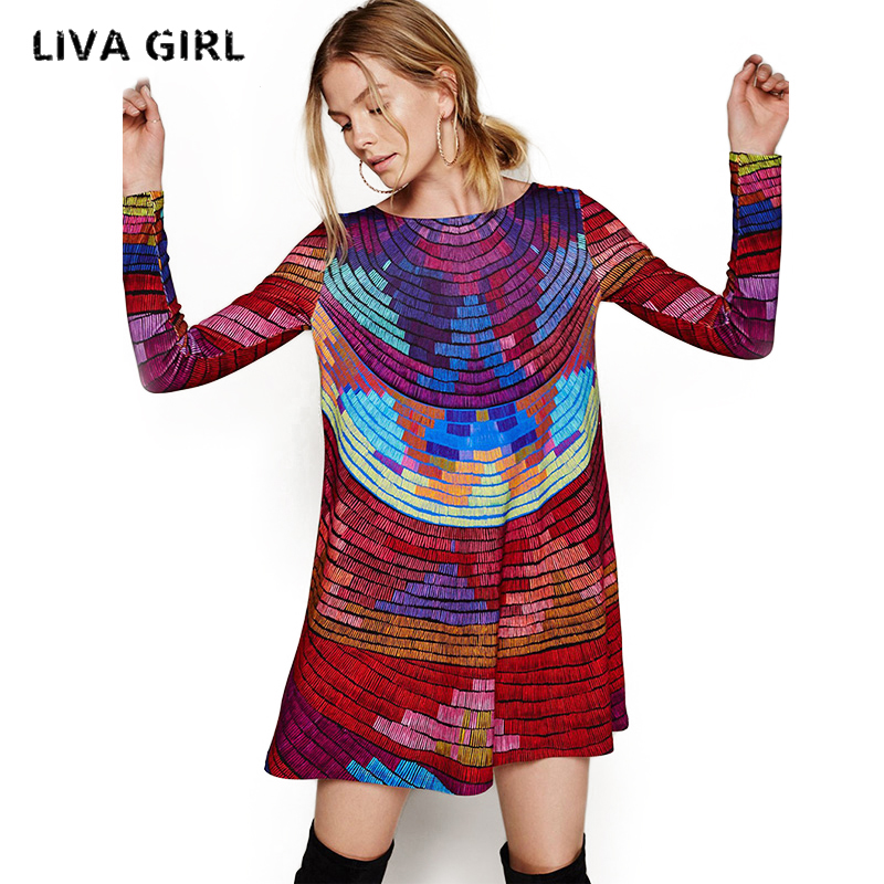 Liva Girl Women Dress Multicolored Evening Party Backless Autumn Knee-Length Female Clothing Vestidos Mujer Robe Femme YP70646
