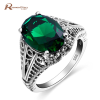 Antique Silver Rings For Women Vintage Fine Jewelry Green Emerald Stone Bohemian Hollow Out Turkish Ring