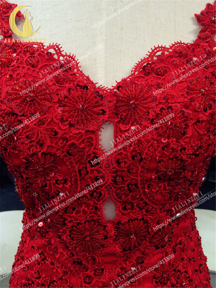 JIALINZEYI Sexy spaghetti strap Red Lace Appliques With Beads Sexy V Backless Mermaid Open Back Celebrity Dresses