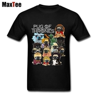 Pug Game Of Thrones T Shirt Men Boy Tailored White Short Sleeve Custom 3XL Party Shirts