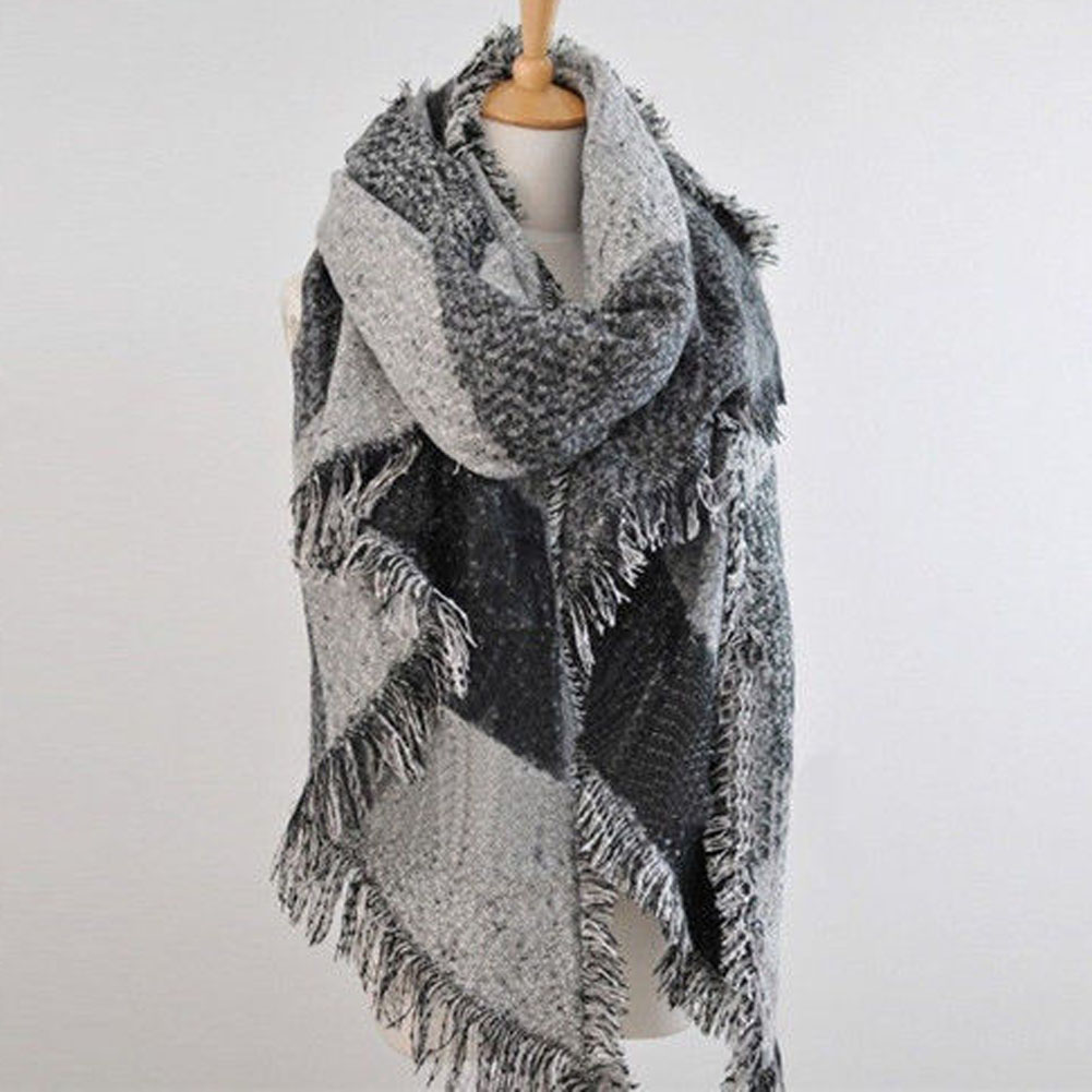 Autumn And Winter Flash Hit Color Oblique Striped Tassel Scarf Fringed Warm Shawl Cashmere Lady  3 Colors