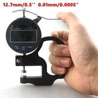 12.7mm 0.5 ''LCD Cyfrowy Miernik Grubości Elektroniczny Mikrometr Narzędzia Pomiarowe 0.01mm Handheld Instrukcja/Automatyczne Wyłączanie Zasilania + Box