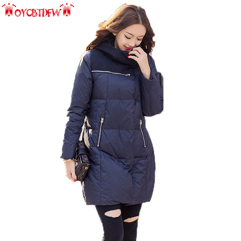 Winter women down jacket 2018 new solid color medium long section high quality Thickening hooded warm women down jacket ll655 free shipping to women new winter down jacket large collars thickening ms cultivate one s morality