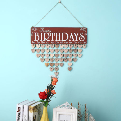 Hot DIY Wood Birthday Reminder Board Birch Ply plaque Sign Family
