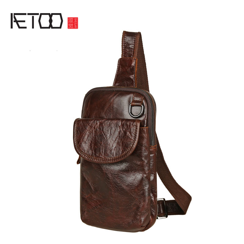 AETOO Leather men's shoulder bag head layer of leather chest bag retro oil wax leather Messenger bag leisure small messenger bag