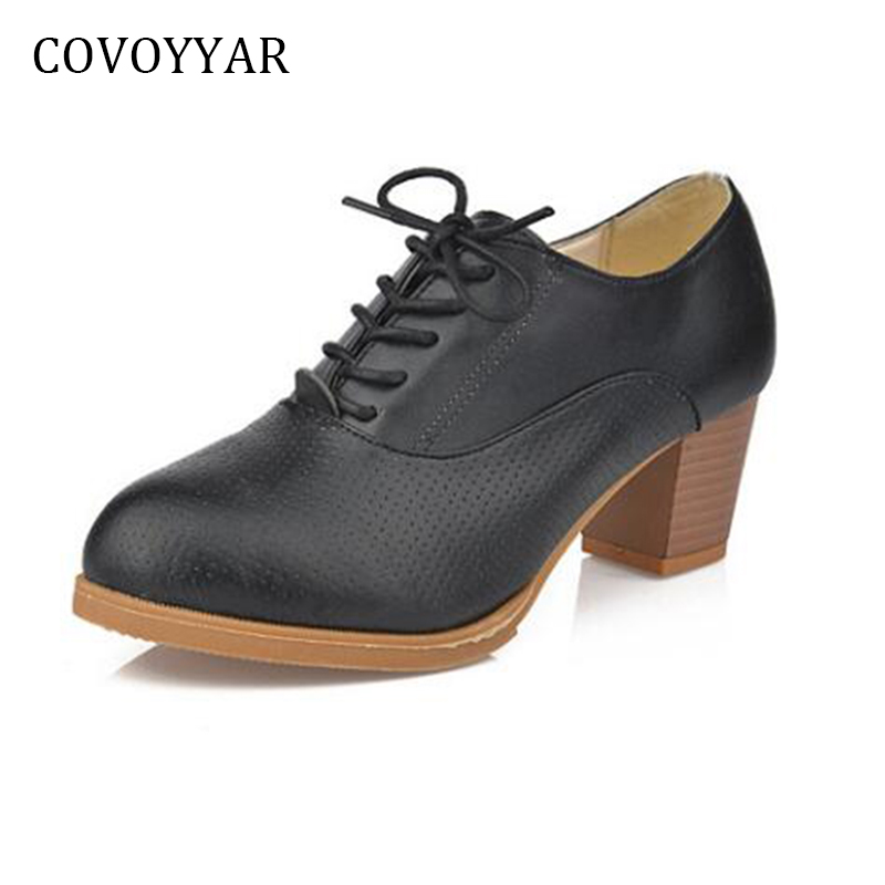COVOYYAR 2018 British Oxford Shoes Women Spring Autumn Fashion Cut Out Thick Heel Woman Pumps Lace Up Ankle Boots WHH537 xiaying smile woman pumps shoes women spring autumn wedges heels british style classics round toe lace up thick sole women shoes