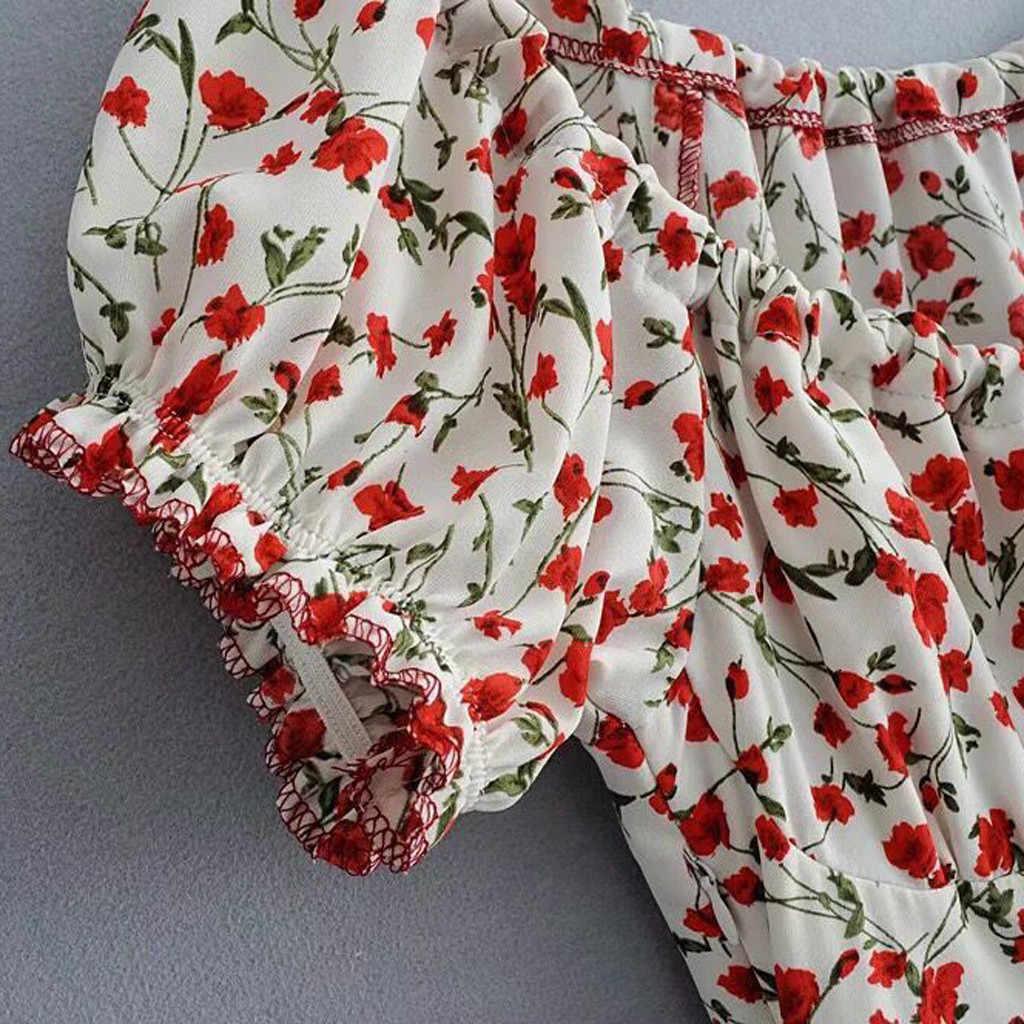 패션 여성 오프 숄더 핑크 드레스 인쇄 짧은 소매 단추 미니 드레스 캐주얼 여름 드레스 여성 파티 밤 2020 새로운