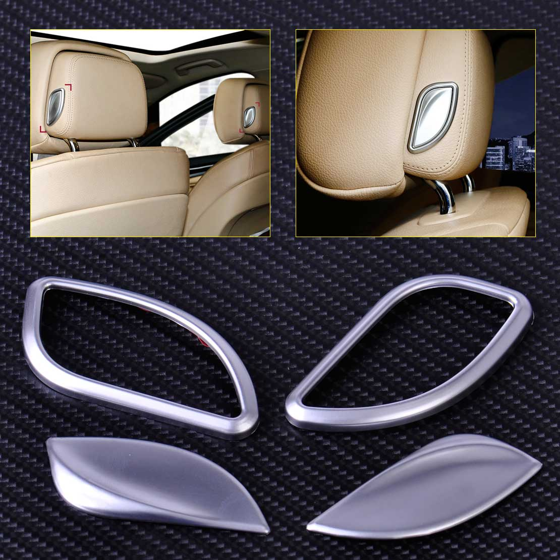 Citall 4pcs abs chrome car front seat headrest switch adjust button cover trim for bmw 5