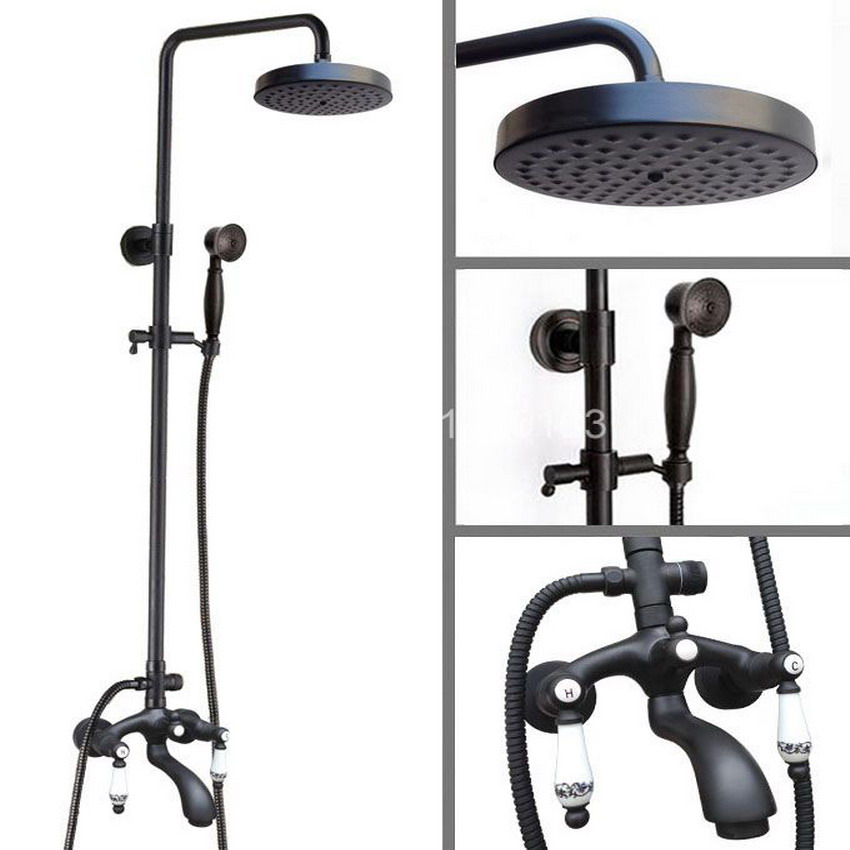 Black Oil Rubbed Bronze Wall Mounted Bathroom 7.7 Rainfall Shower Faucet Set Bath Tub Water Tap Dual Ceramics Handles ahg137