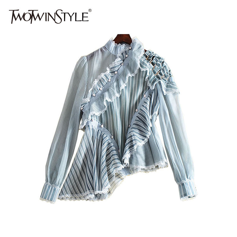 TWOTWINSTYLE Striped Shirt Women Ruffles Patchwork Hollow Out Stand Collar Irregular Blouse Female Spring Fashion Sweet