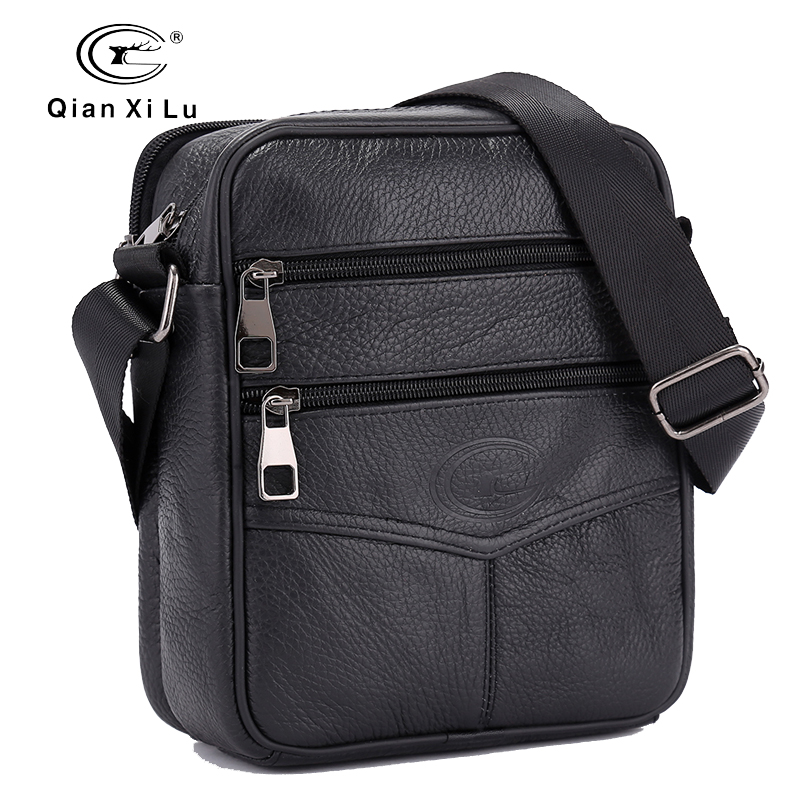 qianxilu Official Store Upgrade edition Retro Soft Real Leather Men Bag Small Shoulder Travel Crossbody Bags Male messenger bag for man