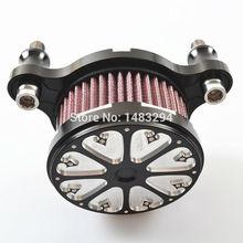 Алюминиевый С ЧПУ Черный Стек Скорость Воздуха Очистить Фильтр Подходит подходит для 2004-2014 Harley Sportster XL 883 1200
