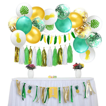 AVEBIEN Wedding Party Color Sequin Latex Balloons Set Pineapple Leaf Printing Balloon Tassel Birthday Hawaiian Decor 35pcs