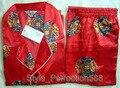 Красный Китайских людей Silk Район 2 шт. Ночное Одеяние пижамы пижамы Наборы Ванна Платье Sml XL XXL XXXL SH015