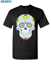 Vintage Tees  Casual Sugar Skull Day Of The Dead Crew Neck Short Sleeve Mens Tee Shirts