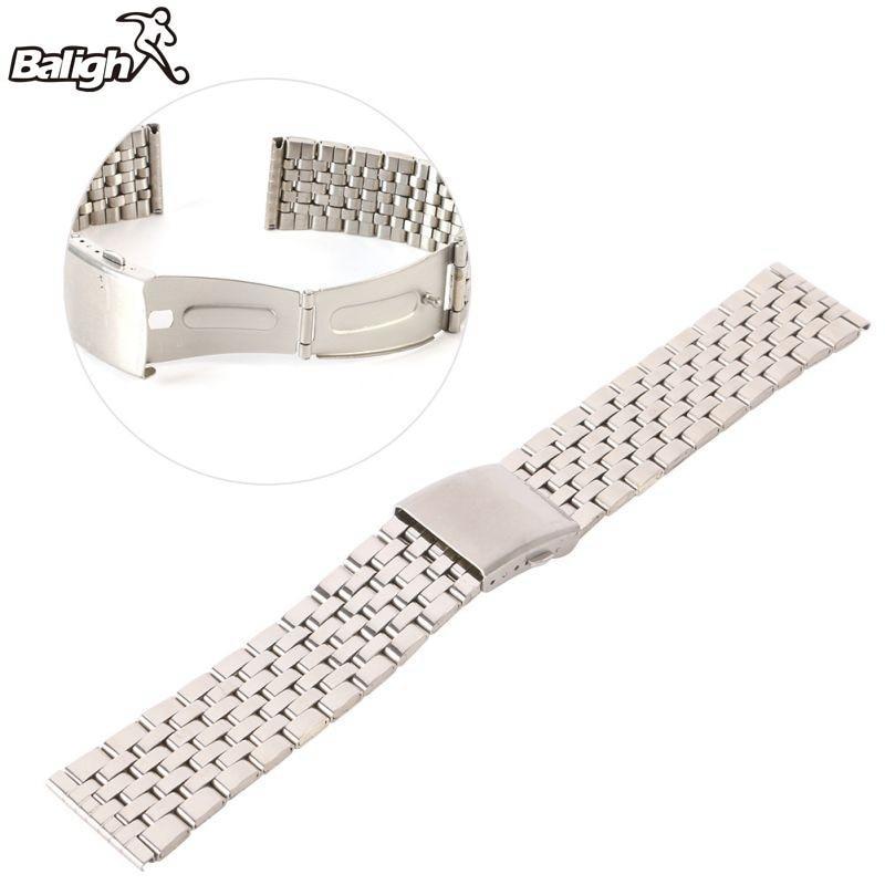 /est / Stainless Steel Metal Strap Silver Watch Band Unisex Bracelet Double Fold Deployment Clasp Watch Buckle 18-22mm