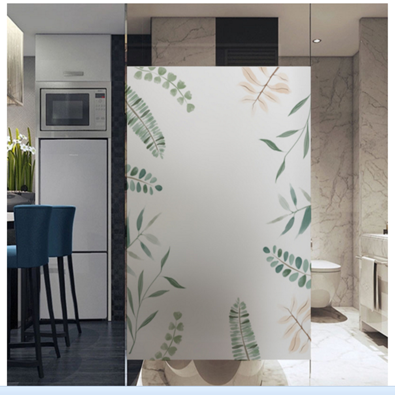 windows Glass sticker bathroom translucent opaque bathroom frosted glass film plant scrub sticker in Wall Stickers from Home Garden