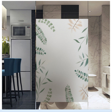 windows Glass sticker bathroom translucent opaque frosted glass film plant scrub