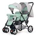 360 градусов всенаправленные колеса близнецы детская коляска автомобильный светильник двойная коляска передние и задние сиденья коляска