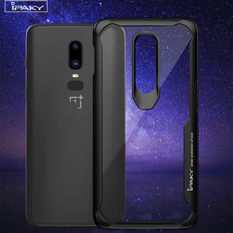 for Oneplus 6 Case Original IPAKY for one plus 6 Silicone Acrylic Hybrid Shockproof Transparent Case for OnePlus 6 Case