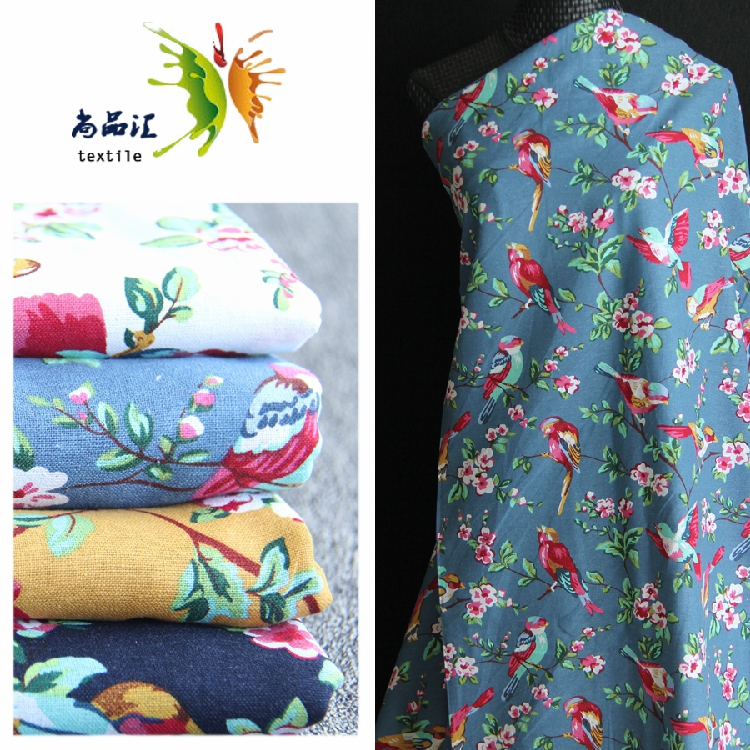 <font><b>cotton</b></font> and <font><b>linen</b></font> fabrics printed Chinese wind finches branch clothes hand curtain antependium pillow image