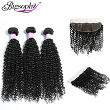 Bigsophy Hair Kinky Curly Wave 100% Remy Human Extension Indian Weave Bundles 3 with 13*4 Frontal Closure