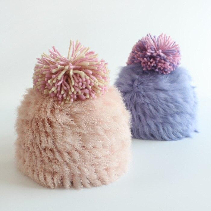 цены  2016 Women Winter Hat Female Real Knitted Rabbit Fur Hat Fashion Hat Warm Ball Autumn Warm Russian Beanie Fur Hats