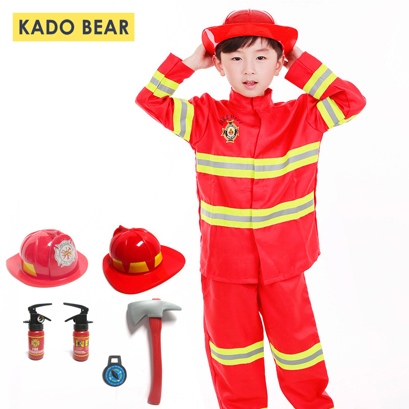 Jackets Clothing-Sets Uniforms Roleplay-Costumes Firefighter Fireman Reflective Baby-Boys-Girls