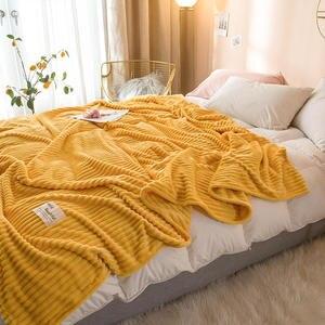 Image 5 - Bonenjoy البطانيات للأسرة بلون أصفر لينة الدافئة 300GSM منقوشة ساحة الفانيلا بطانية على السرير سماكة رمي بطانية