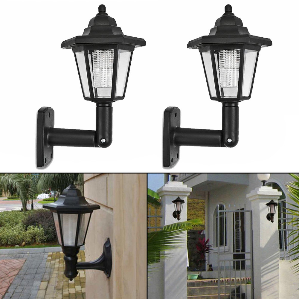 2x Solar Light Home Garden Door Solar Power LED Light Path Way Wall Landscape Mount Garden Fence Lamp Outdoor Night Light#X