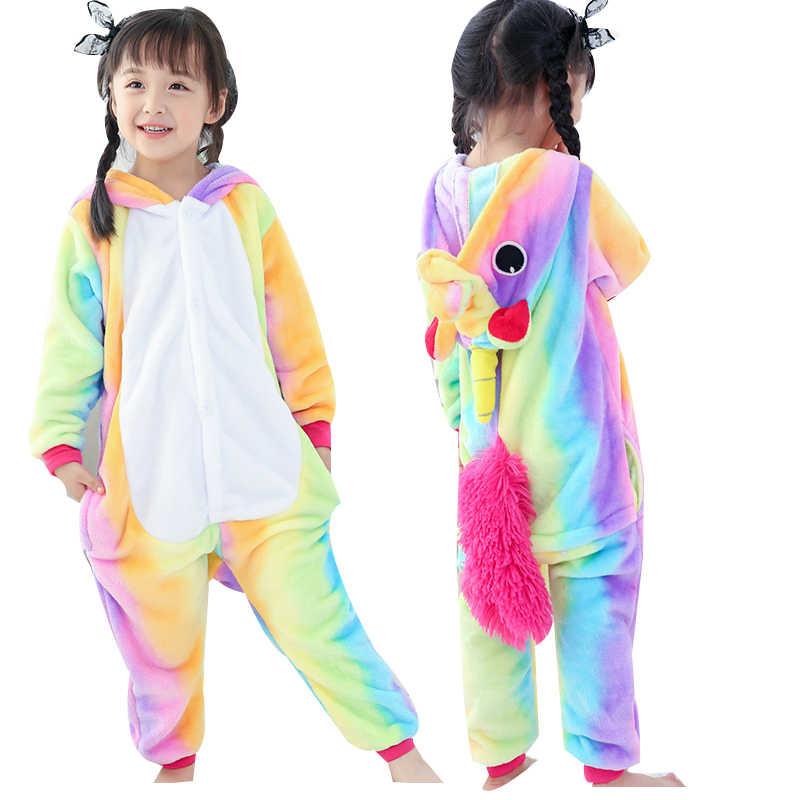 Радуга Единорог пижамы для обувь девочек мальчиков фланелевые детские Пижама  Kigurumi мультфильм животных с капюшоном пижам 52e541240b2e5
