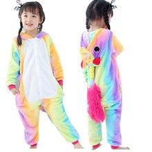 52ebd8445f Regenbogen Einhorn Kinder Pyjama für Mädchen Jungen Onesie Flanell kinder  Pyjamas Kigurumi Tiere Nachtwäsche Kinder Pyjamas