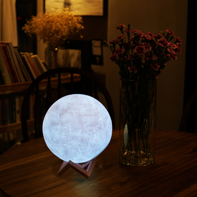 NEW Creative 3D Moon Lamp Light Night Lighting Luminaria USB LED Bulb Rechargeable Touch Remote Multicolor Christmas Gifts