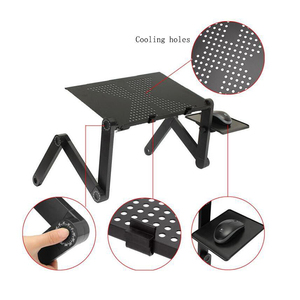 Image 3 - SUFEILE Aluminum Laptop Folding Table Computer desk Stand for Bed 360 degree rotation MultiFunctional Portable folding table D5