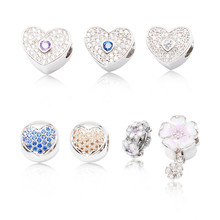 High quality 925 Silver Crystal Radiant Hearts Charm Fit Europe Original Pandora Charm Bracelet Jewelry Gift js1477