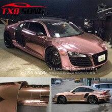 Różowe złoto strechable chrome mirror vinyl naklejka na samochód z bąbelkami powietrza elastyczna chromowana winylowa naklejka na lustro