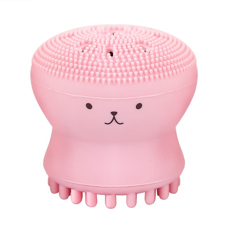 Facial Pore Cleansing Exfoliating Face Wash Skin Care Brush Lovely Animal Small Octopus Shape Silicone Deep Cleansing Brush